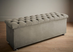 Boutique Velvet Silver Chesterfield Bed Box