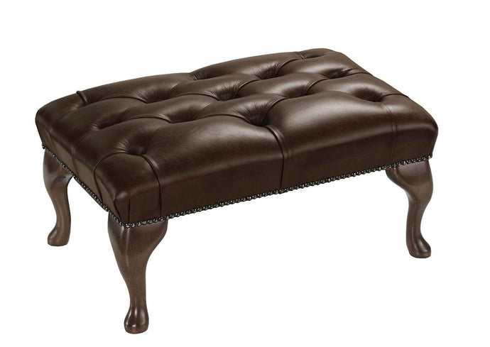 1694 Footstool, Chocolate Salvaggio Leather