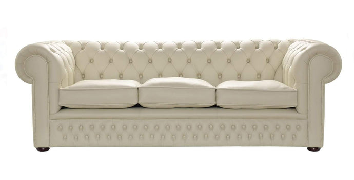 1694 Chesterfield Sofa, Cream House Leather