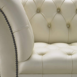 Venetia Chesterfield Club Chair, Cream House Leather