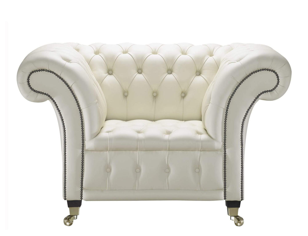 Venetia Club Chair, Cream House Leather