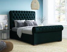 Load image into Gallery viewer, Single Duchess Bed, Emerald Amalfi Velvet