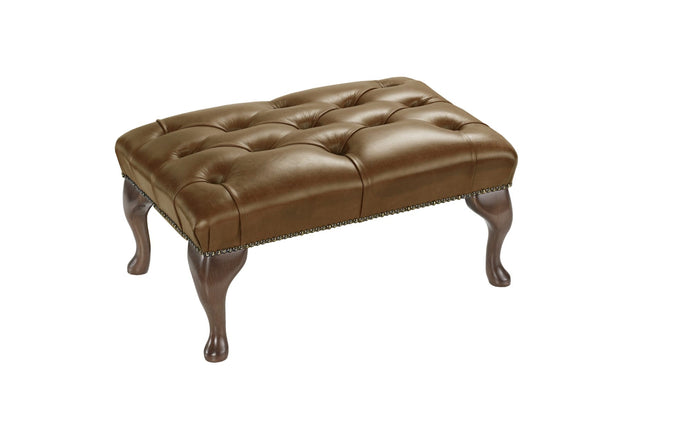 1694 Footstool, Honey Salvaggio Leather