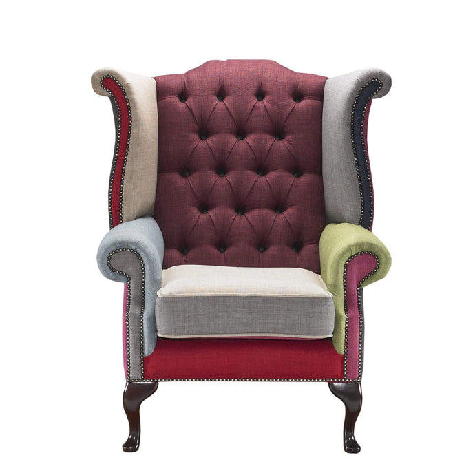 1694 Queen Anne Armchair, Patchwork House Linen