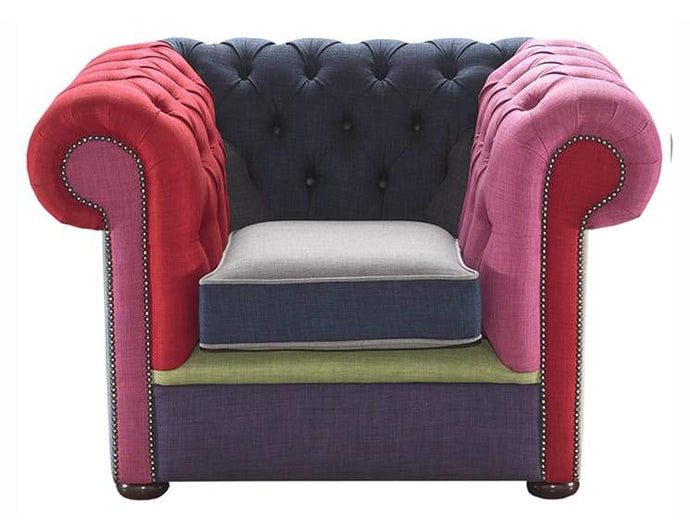 1694 Chesterfield Club Chair, Patchwork House Linen