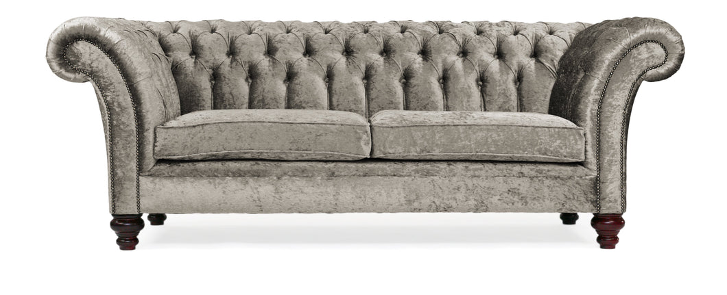 Milano Chesterfield Sofa, Steel Zagros Velvet