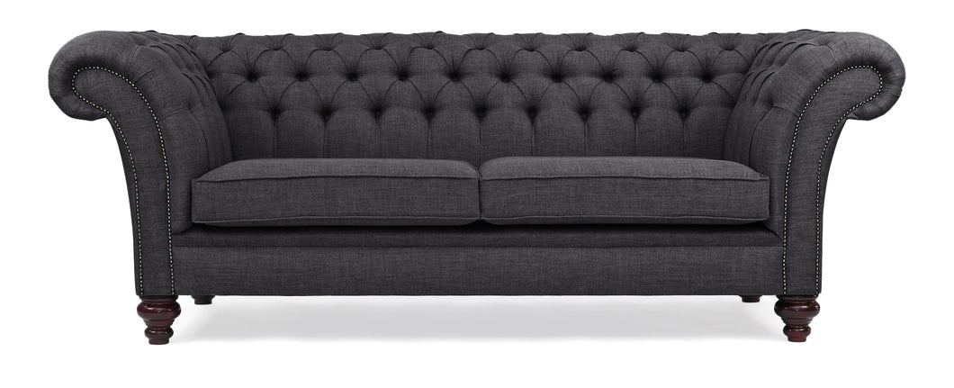 Milano Chesterfield Sofa, Charcoal House Linen