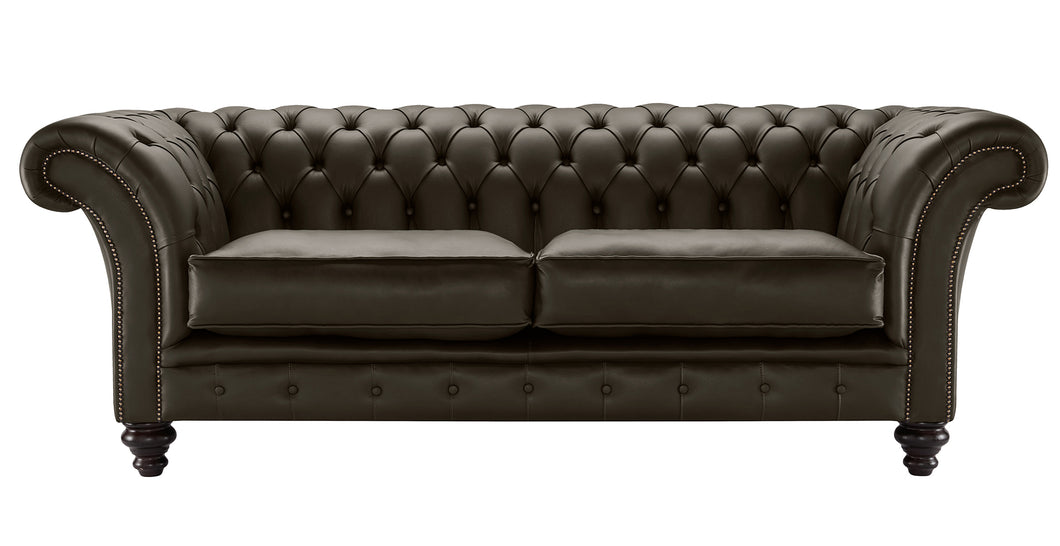 Milano Chesterfield Sofa, Chocolate Bolero Leather