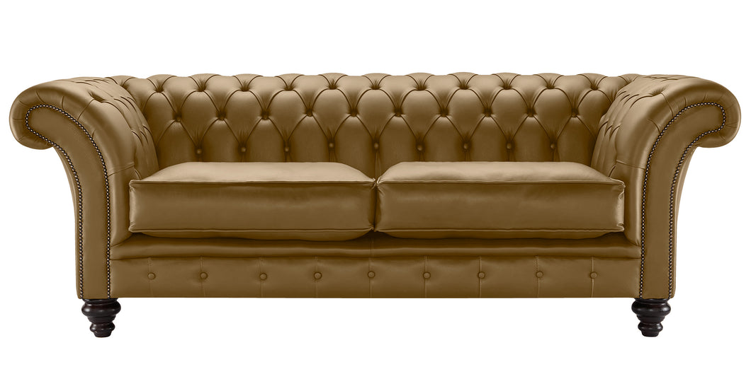 Milano Chesterfield Sofa, Toast Bolero Leather