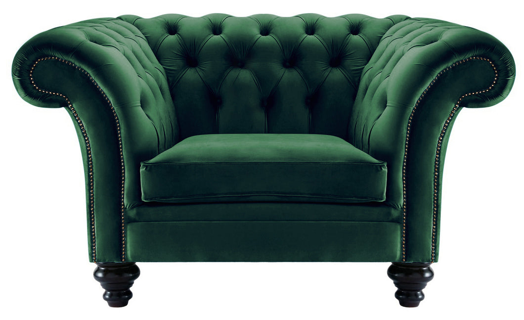 Milano Chesterfield Club Chair, Bottle Boutique Velvet