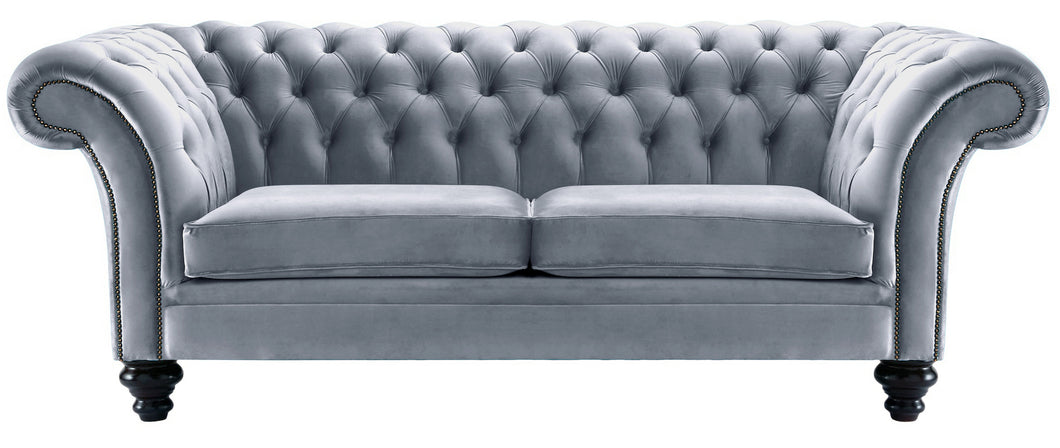 Milano Chesterfield Sofa, Platinum Boutique Velvet