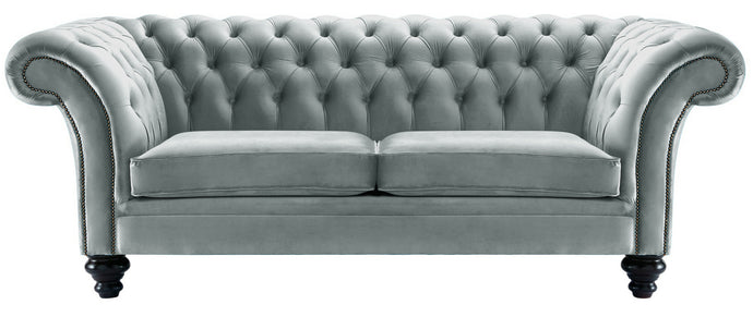 Milano Chesterfield Sofa, Silver Boutique Velvet
