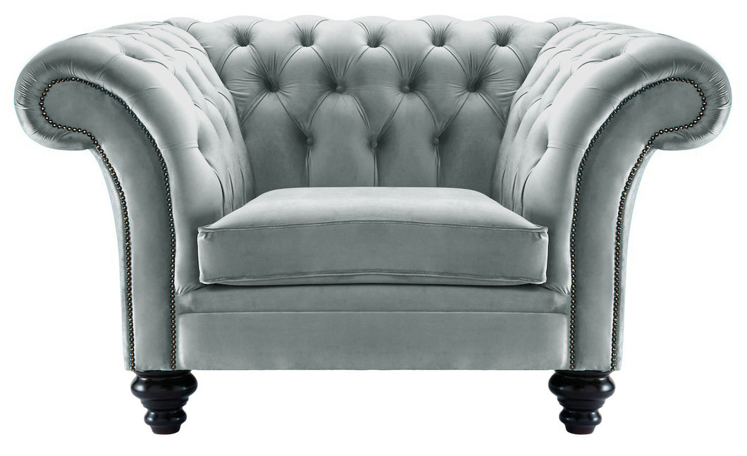 Milano Chesterfield Club Chair, Silver Boutique Velvet