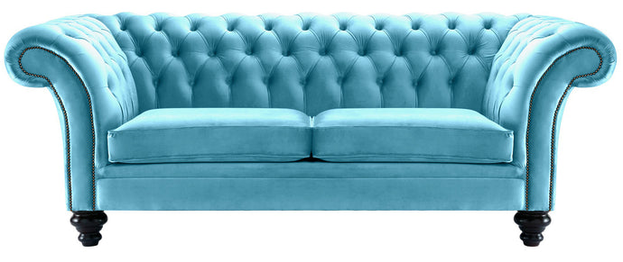 Milano Chesterfield Sofa, Sky Boutique Velvet