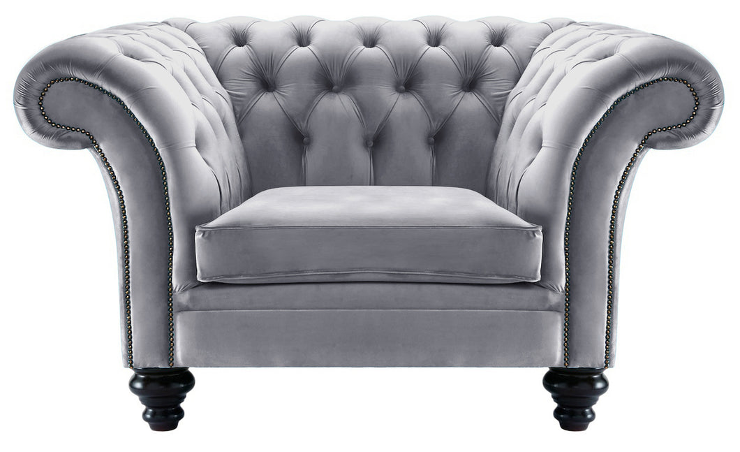 Milano Chesterfield Club Chair, Steel Boutique Velvet