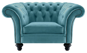 Milano Chesterfield Club Chair, Teal Boutique Velvet