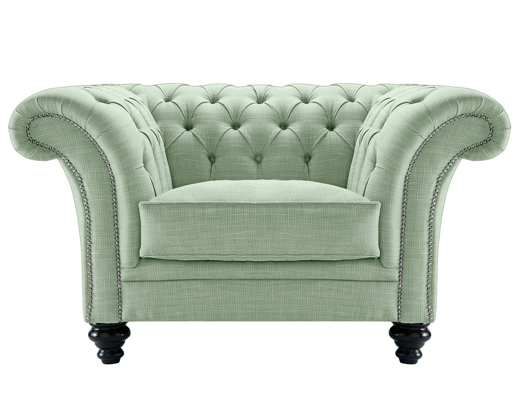 Milano Chesterfield Club Chair, Aqua Dakota