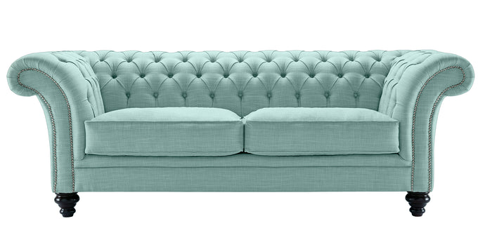 Milano Chesterfield Sofa, Duck Egg Dakota