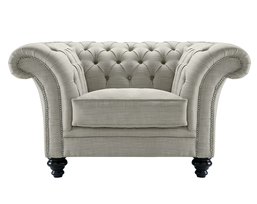 Milano Chesterfield Club Chair, Silver Dakota