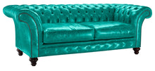 Load image into Gallery viewer, Milano Chesterfield Sofa, Azure Lustro Leather