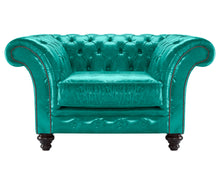 Load image into Gallery viewer, MIlano Chesterfield Club Chair, Azure Lustro Leather