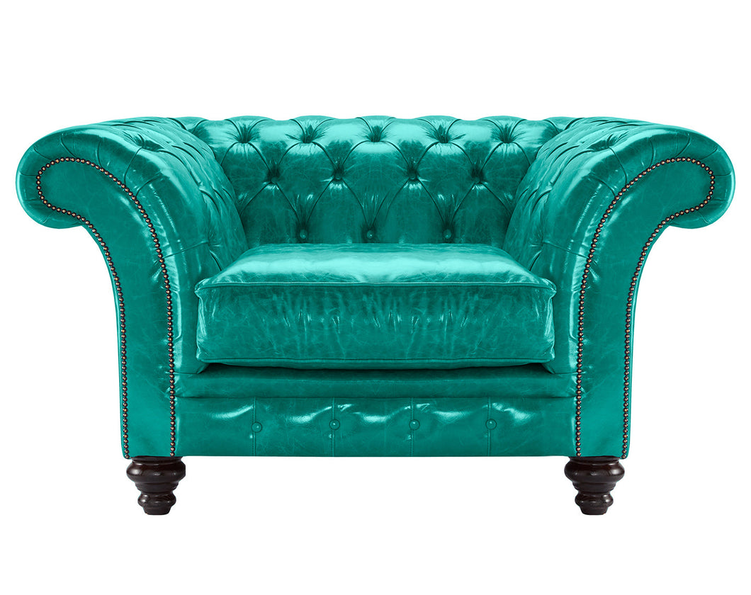 MIlano Chesterfield Club Chair, Azure Lustro Leather