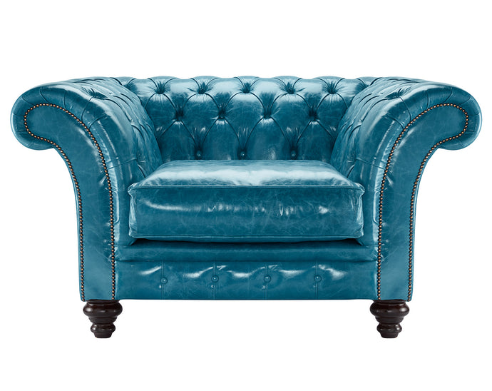 MIlano Chesterfield Club Chair, Laguna Lustro Leather