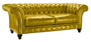 Milano Chesterfield Sofa, Saffron Lustro Leather