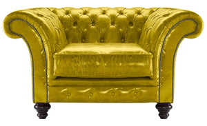 MIlano Chesterfield Club Chair, Saffron Lustro Leather