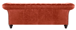 Milano Chesterfield Sofa, Vermilion Lustro Leather