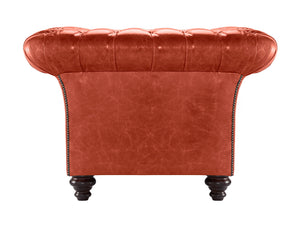 MIlano Chesterfield Club Chair, Vermilion Lustro Leather