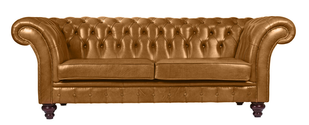 Milano Chesterfield Sofa, Buckskin Old English Leather