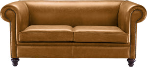Novara Chesterfield Sofa, Buckskin Old English Leather