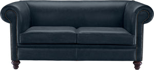 Novara Chesterfield Sofa, Ocean Old English Leather