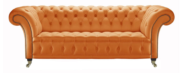 Venetia Chesterfield Sofa, Orange House Leather