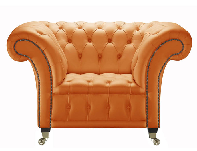 Venetia Chesterfield Club Chair, orange House Leather