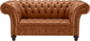 Venetia Chesterfield Sofa, Bruciato Old English Leather