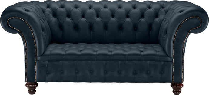 Venetia Chesterfield Sofa, Ocean Old English Leather