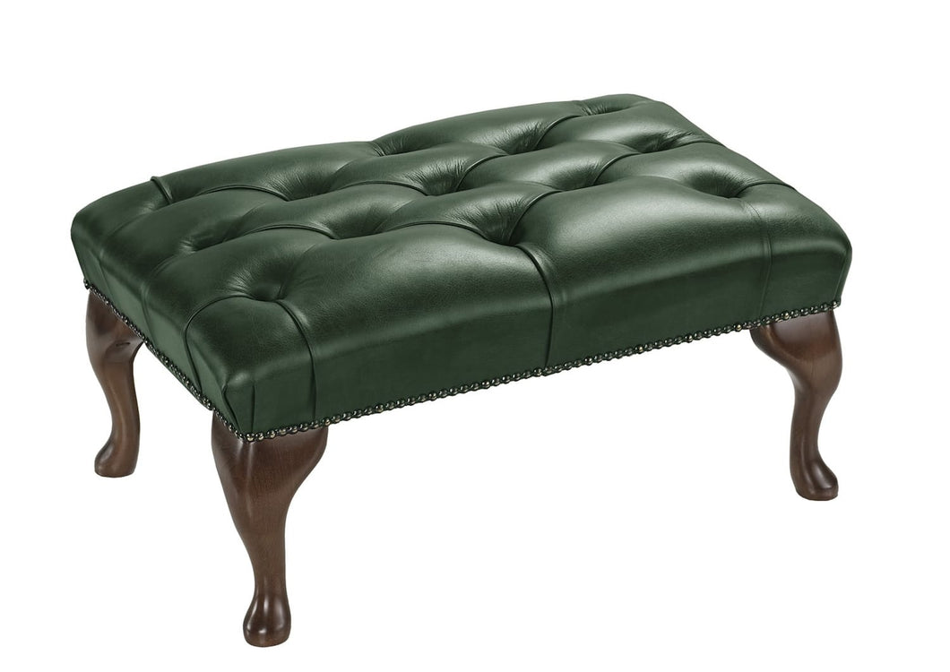 1694 Footstool, Verde Salvaggio Leather