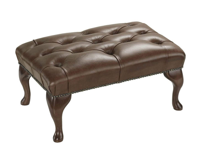 1694 Footstool, Walnut Salvaggio Leather