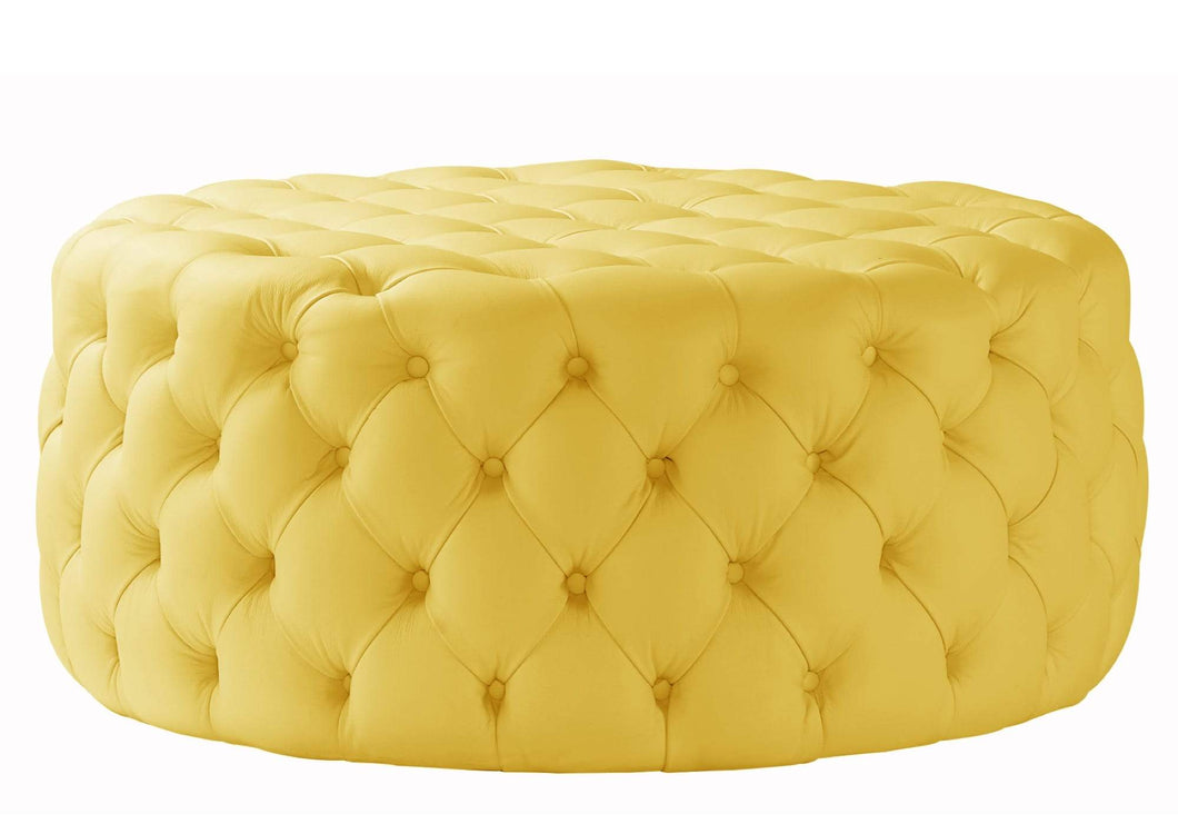 House Leather Yellow Nuvol Footstool