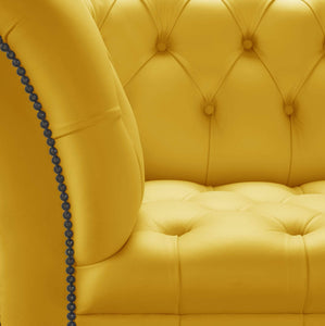Venetia Chesterfield Club Chair, Yellow House Leather