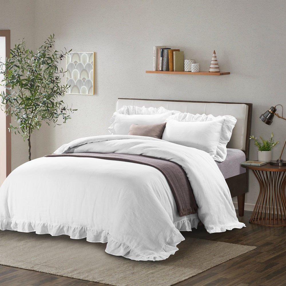 White Cotton Matelasse Quilt Coverlet Set-Washed Floral&Geo Style-Wholelinens