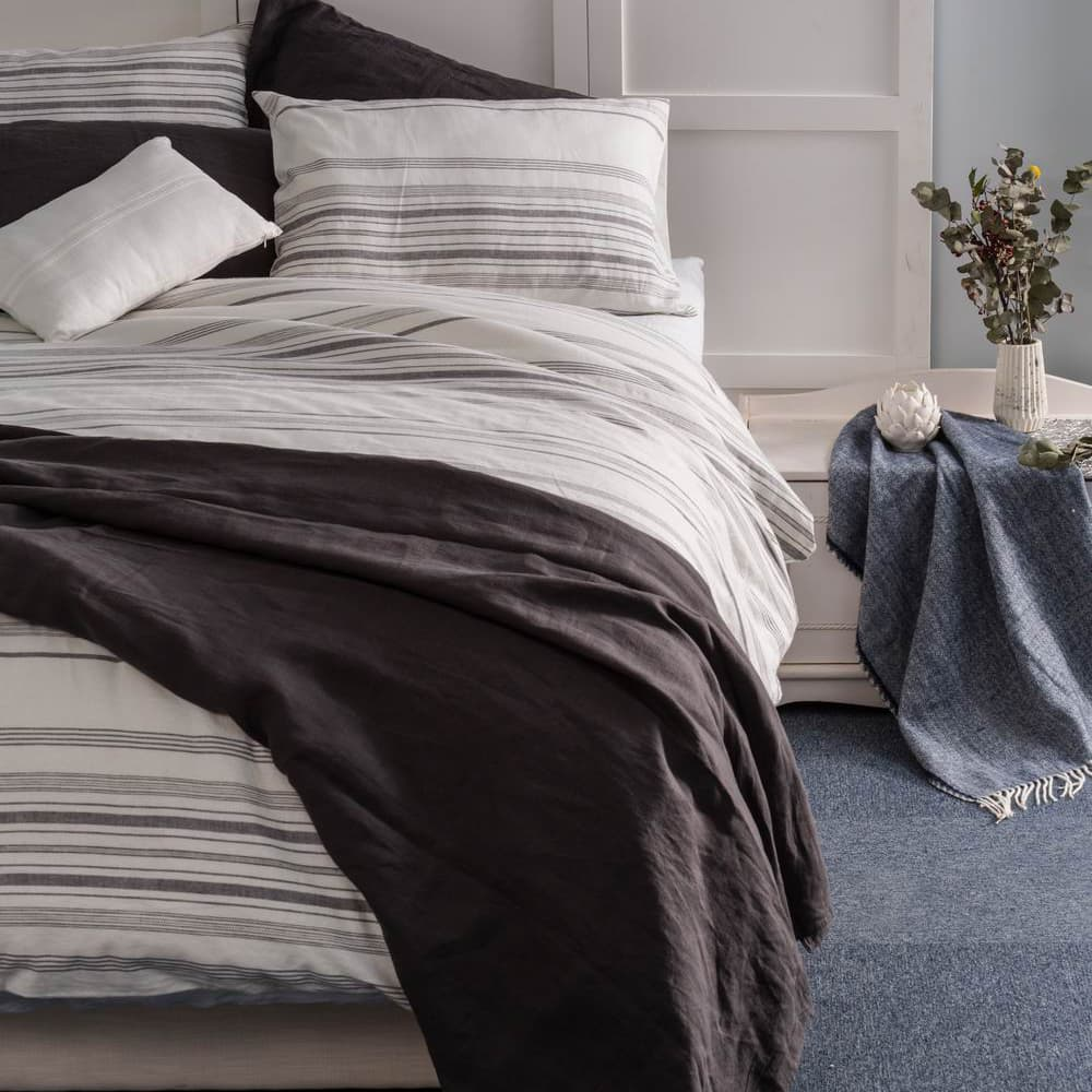 Wholelinens Linen Blend Duvet Cover Set- Washed Stripe - Wholelinens
