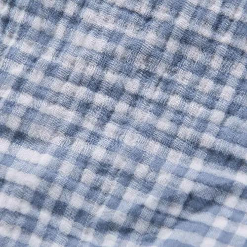 Blue Cotton Adult Muslin Gauze Throw Blanket Buffalo Check | Wholelinens