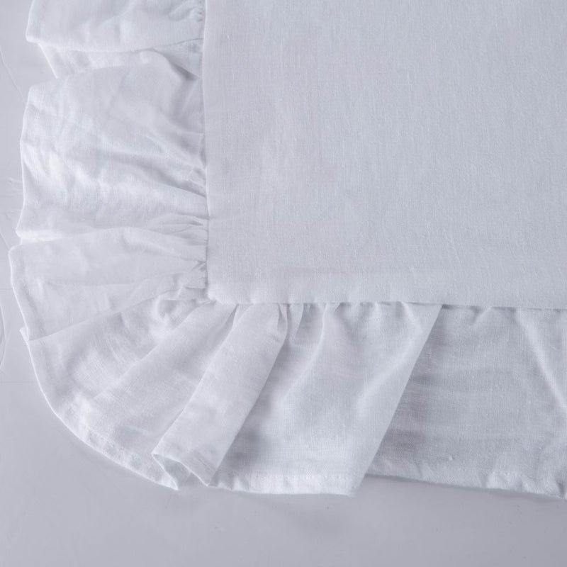 White Washed  Linen European Square Pillow Sham, Ruffled 2 Pieces | Wholelinens
