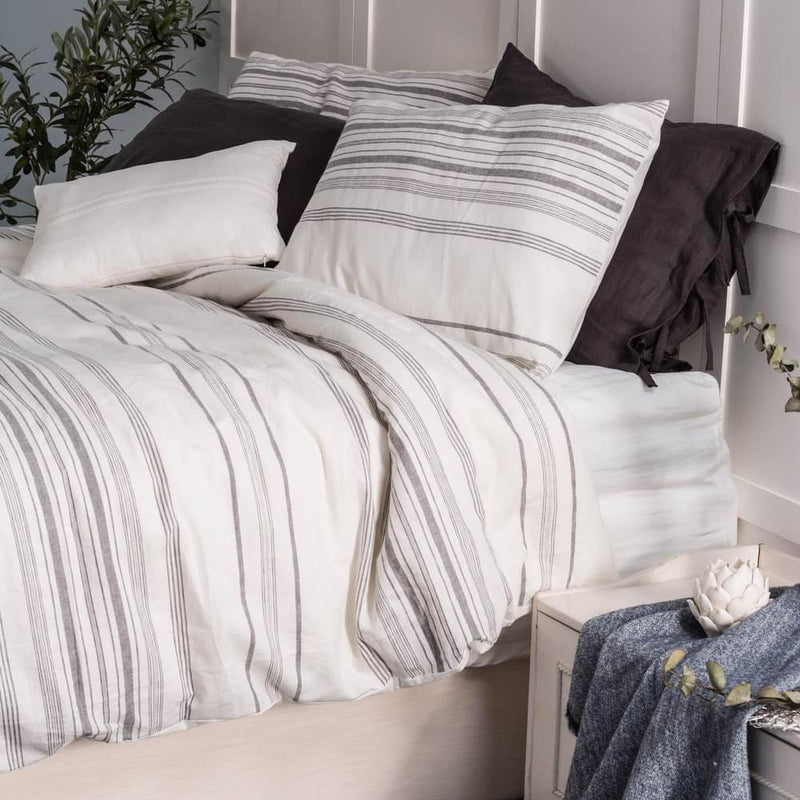 Beige Linen Blend Stripe Duvet Cover Set French Linen Stone Washed | Wholelinens
