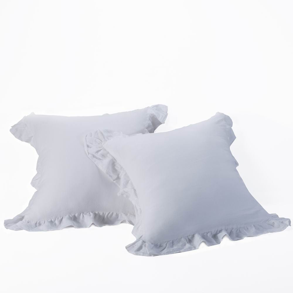 Washed  Linen Euro Pillow Shams-Ruffle Style-Wholelinens