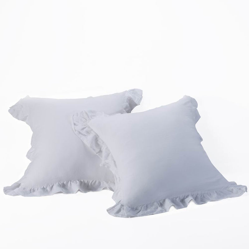 Grey Washed Linen European Square Pillow Sham, Ruffled 2 Pieces | Wholelinens