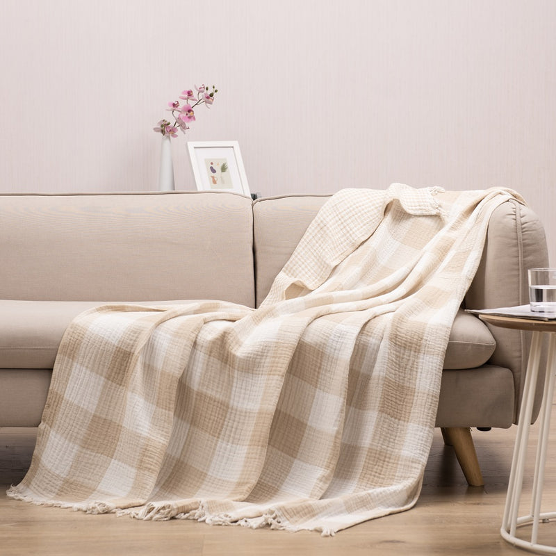 Wholelinens Cotton Throw Blanket- Fringed, Buffalo Check - Wholelinens